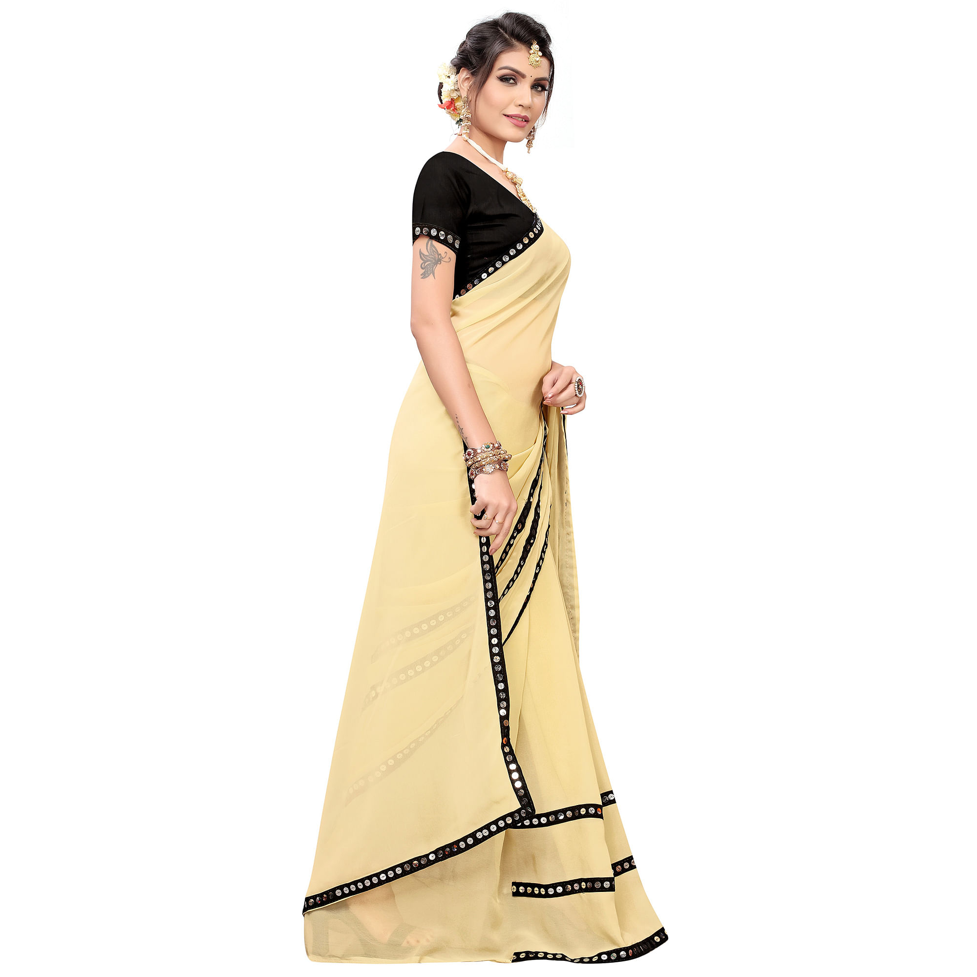 Engrossing Yellow Colored Casual Wear Georgette Saree