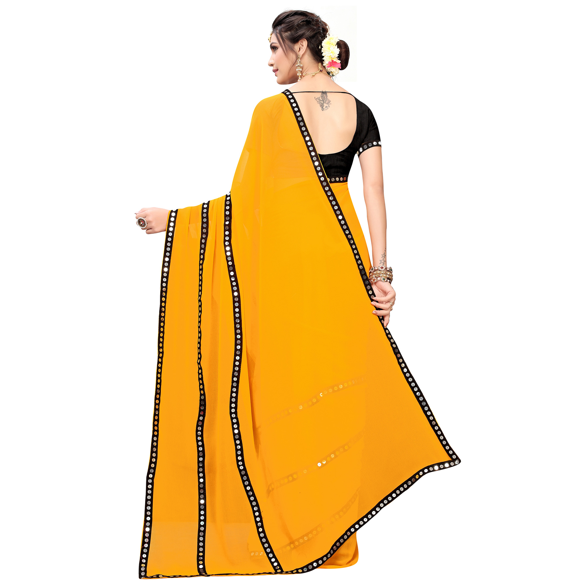 Captivating Mustard Yellow Colored Casual Wear Georgette Saree