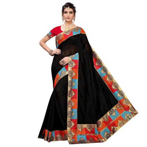 Innovative Black Colored Festive Wear Chanderi Silk Saree