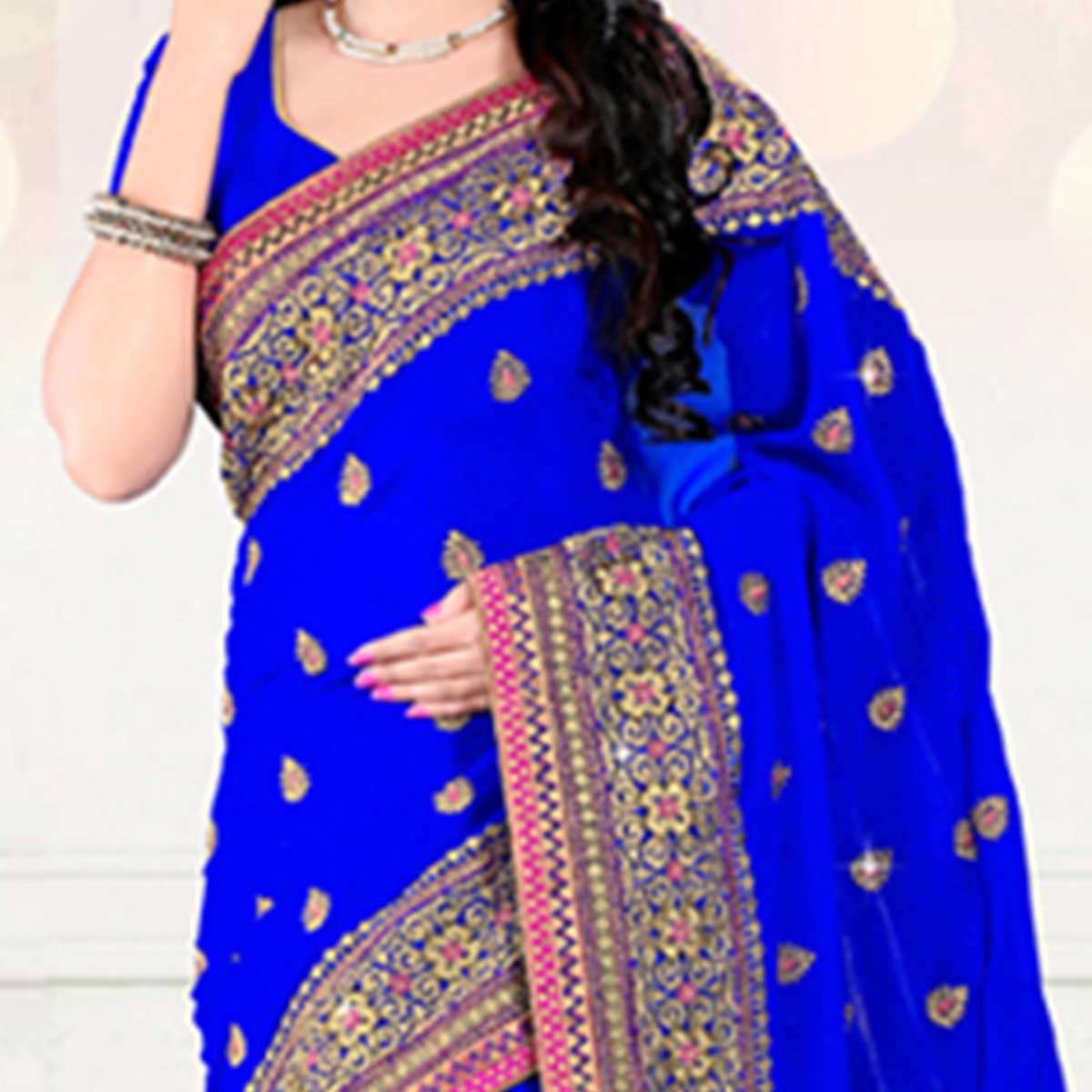 Royal Blue Catonic Georgette Saree