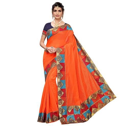 Eye-catching Orange Colored Festive Wear Chanderi Silk Saree