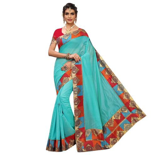 Fantastic Sky Blue Colored Festive Wear Chanderi Silk Saree