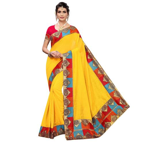 Gorgeous Yellow Colored Festive Wear Chanderi Silk Saree