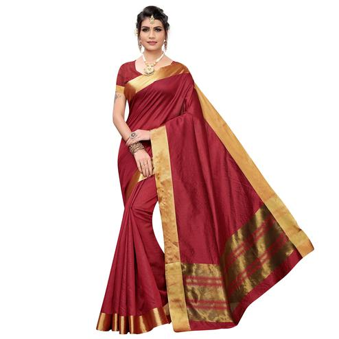Intricate Maroon Colored Festive Wear Cotton Silk Saree