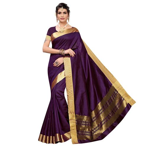 Desirable Purple Colored Festive Wear Cotton Silk Saree