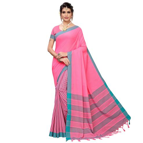 Sophisticated Pink Colored Casual Printed Cotton Silk Saree