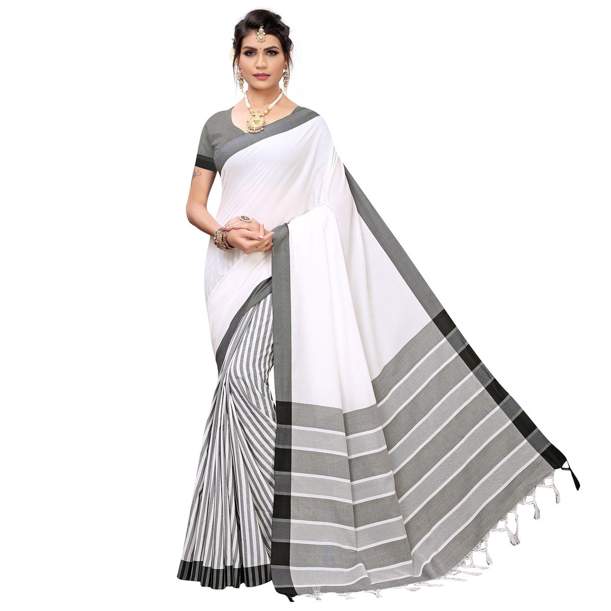 Trendy White Colored Casual Printed Cotton Silk Saree