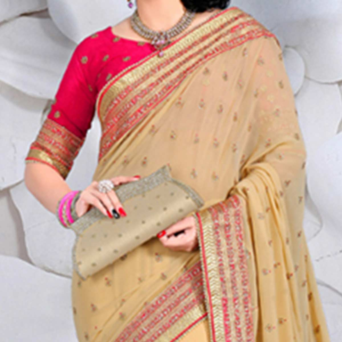 Goldenrod Catonic Georgette Saree
