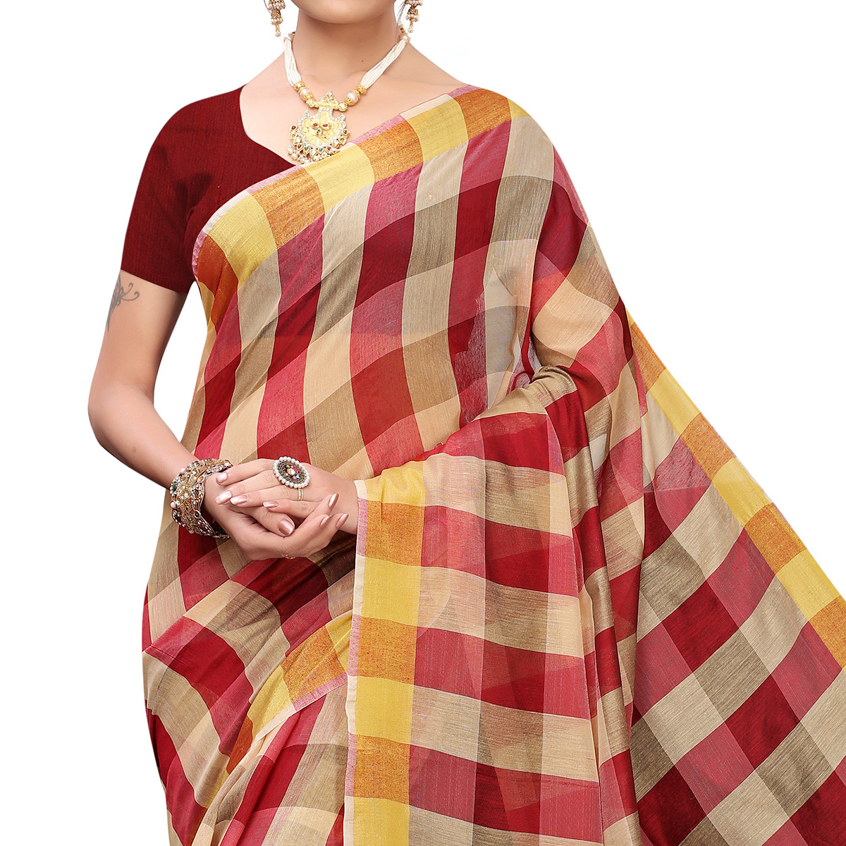 Opulent Red Colored Casual Printed Chanderi Silk Saree