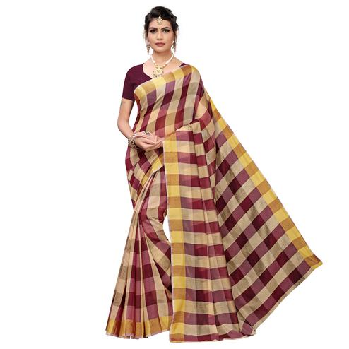 Energetic Wine Colored Casual Printed Chanderi Silk Saree