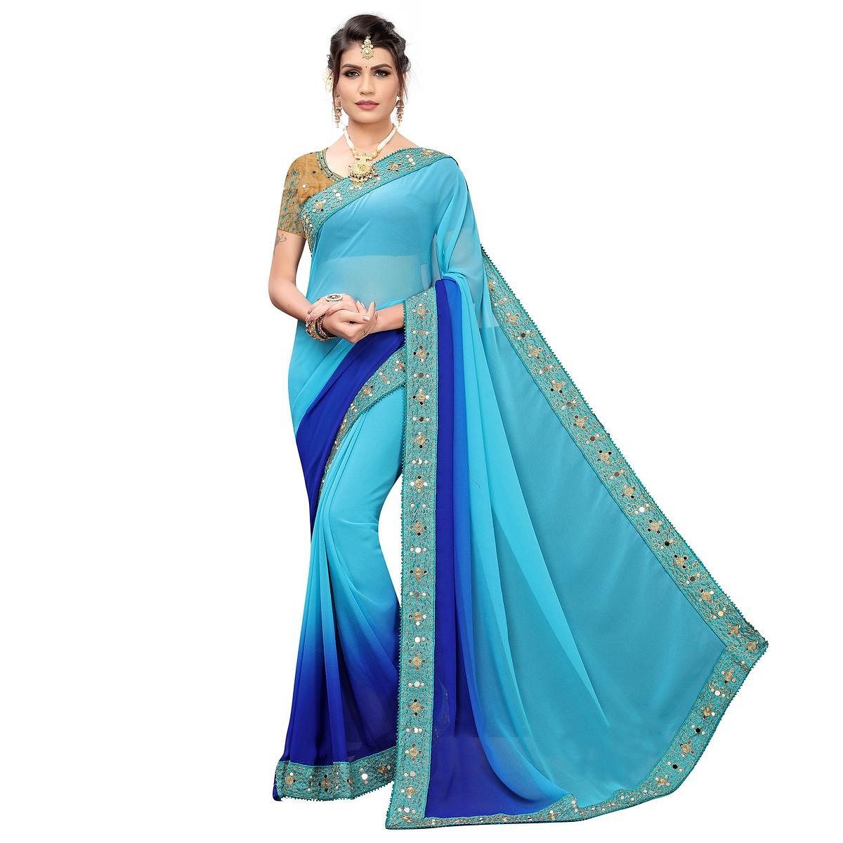Glowing Blue Colored Partywear Embroidered Georgette Saree