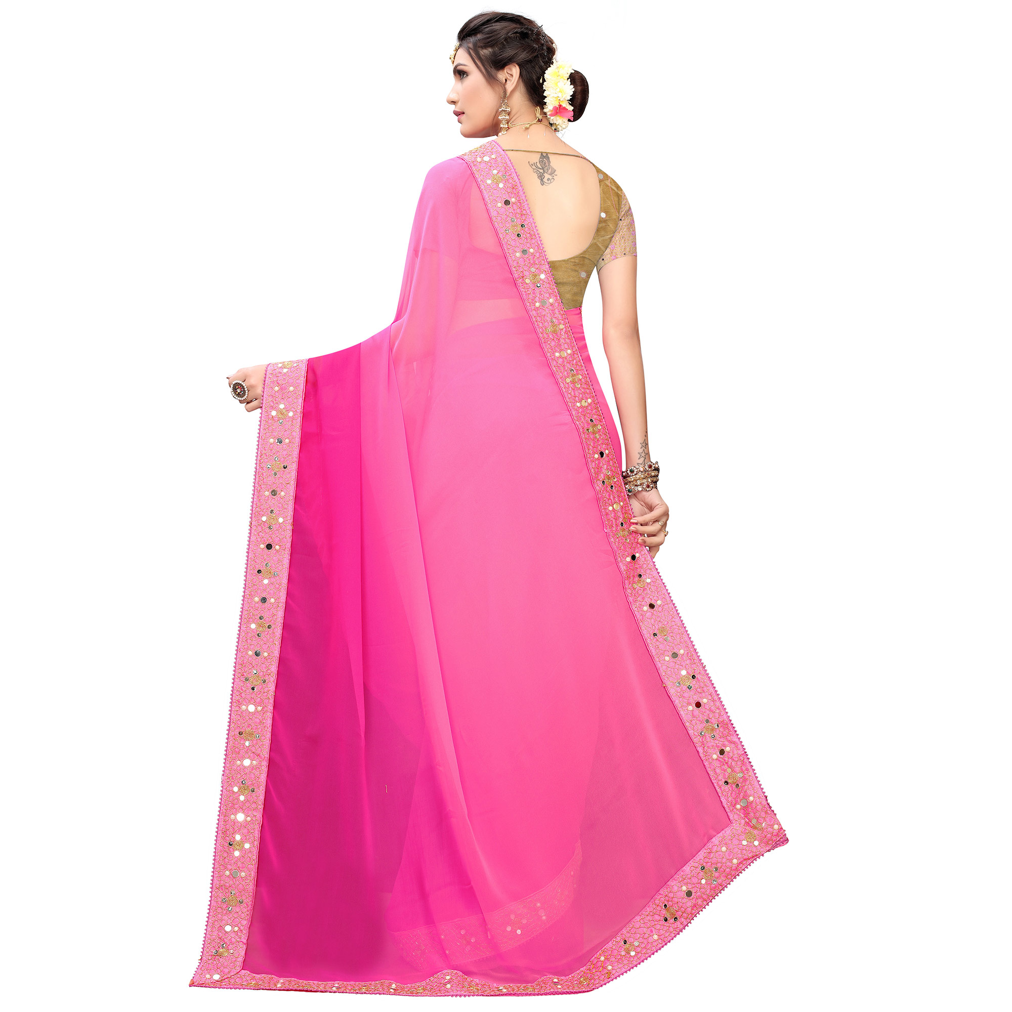 Mesmeric Pink Colored Partywear Embroidered Georgette Saree