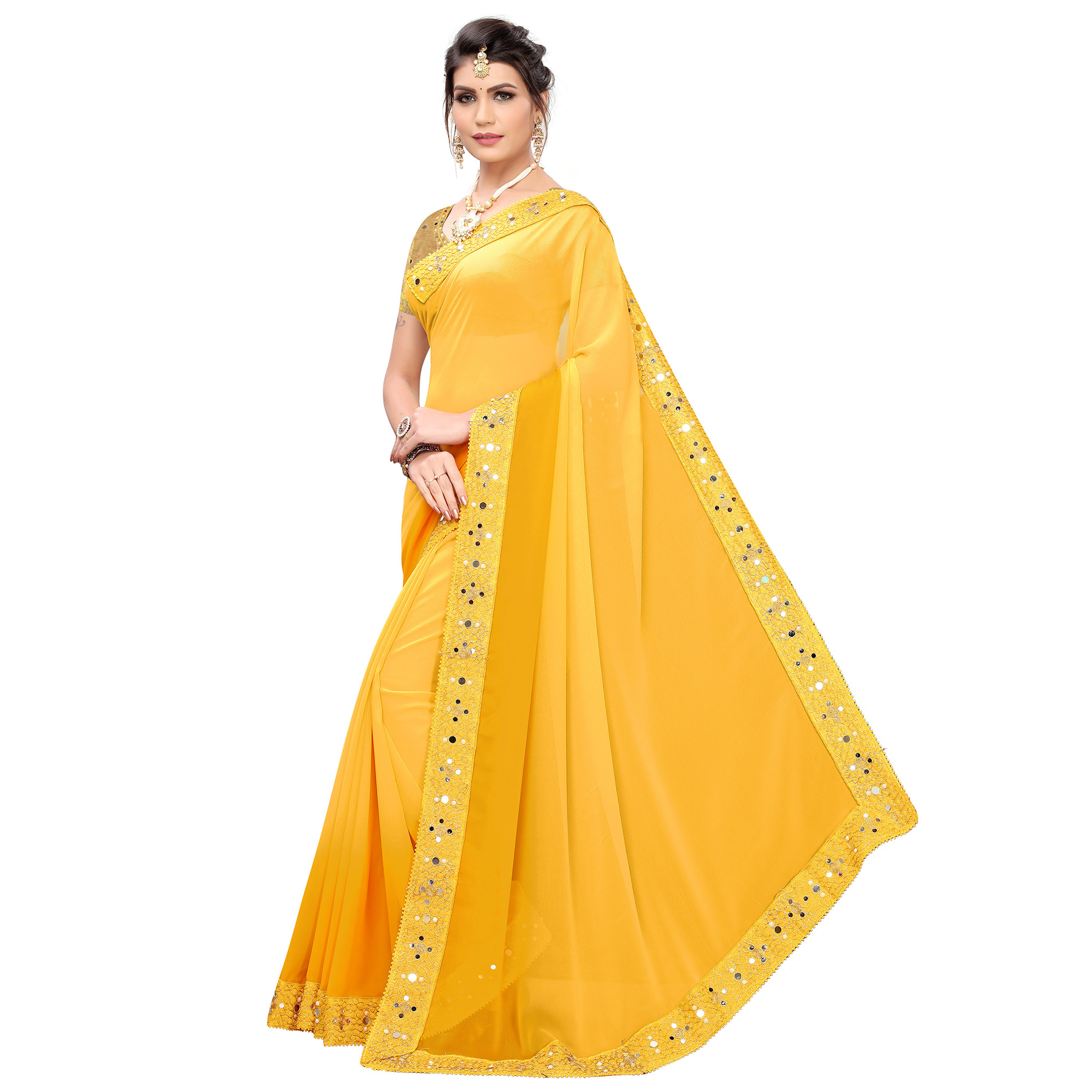 Unique Yellow Colored Partywear Embroidered Georgette Saree