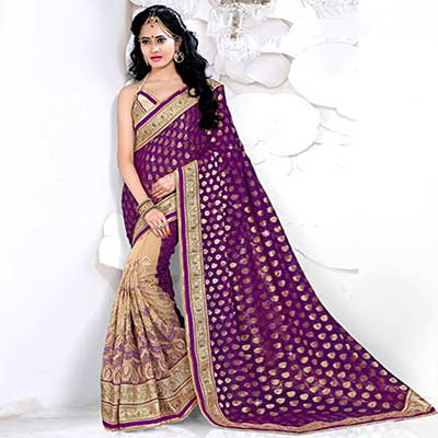 Tan - Violet Net + Viscos Jacquard Saree