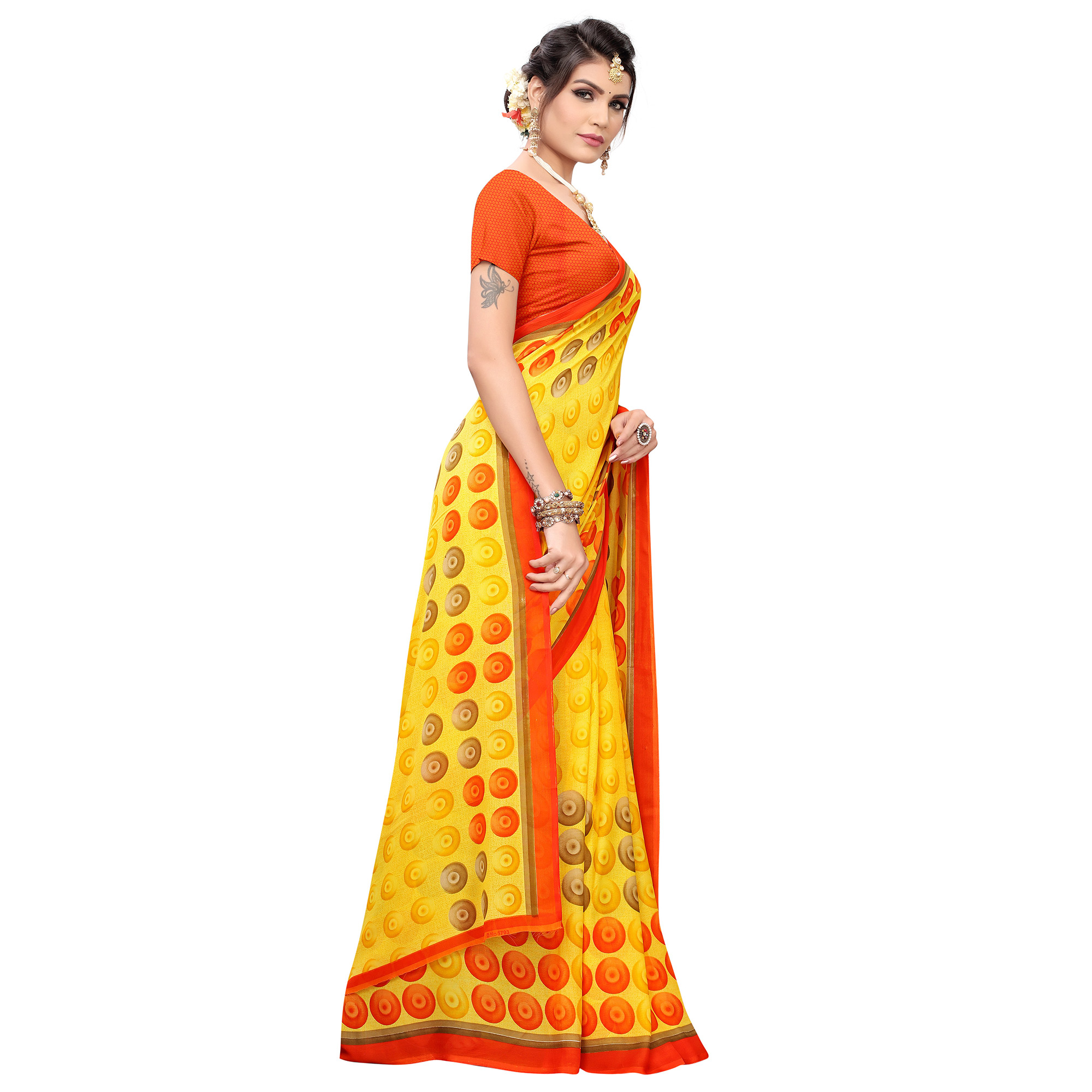 Demanding Yellow Colored Casual Printed Georgette Saree