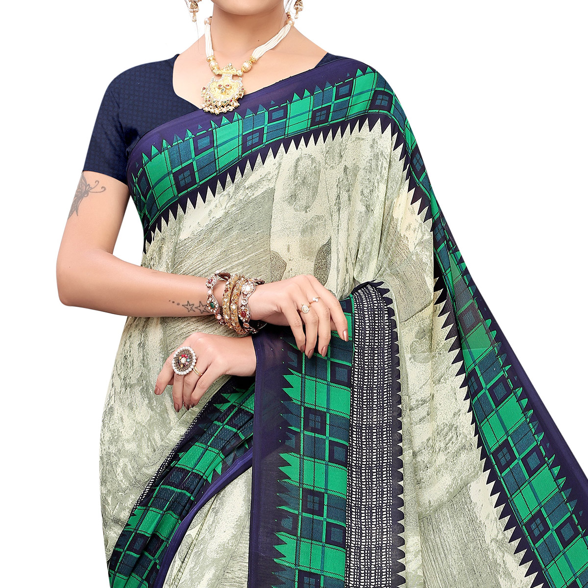Refreshing Off White Colored Casual Printed Georgette Saree