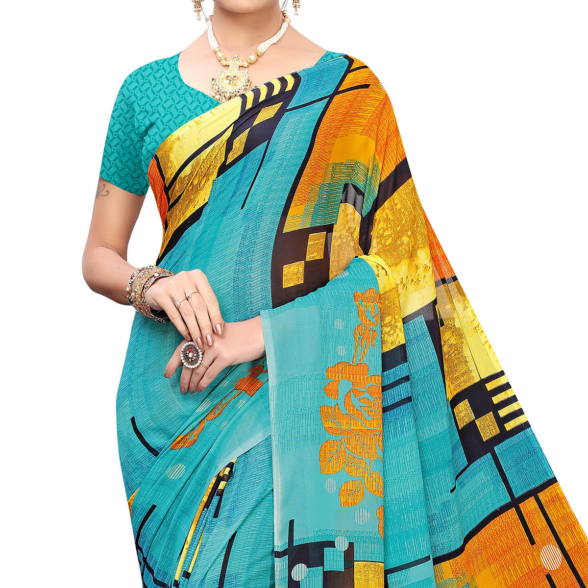 Magnetic Blue Colored Casual Printed Georgette Saree