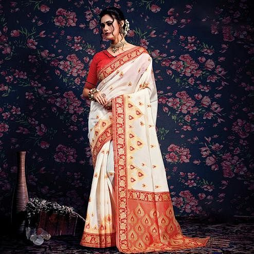 Prominent Cream-Red Colored Festive Wear Woven Silk Saree