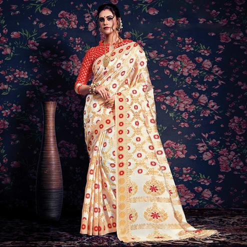 Groovy Cream-Red Colored Festive Wear Woven Silk Saree