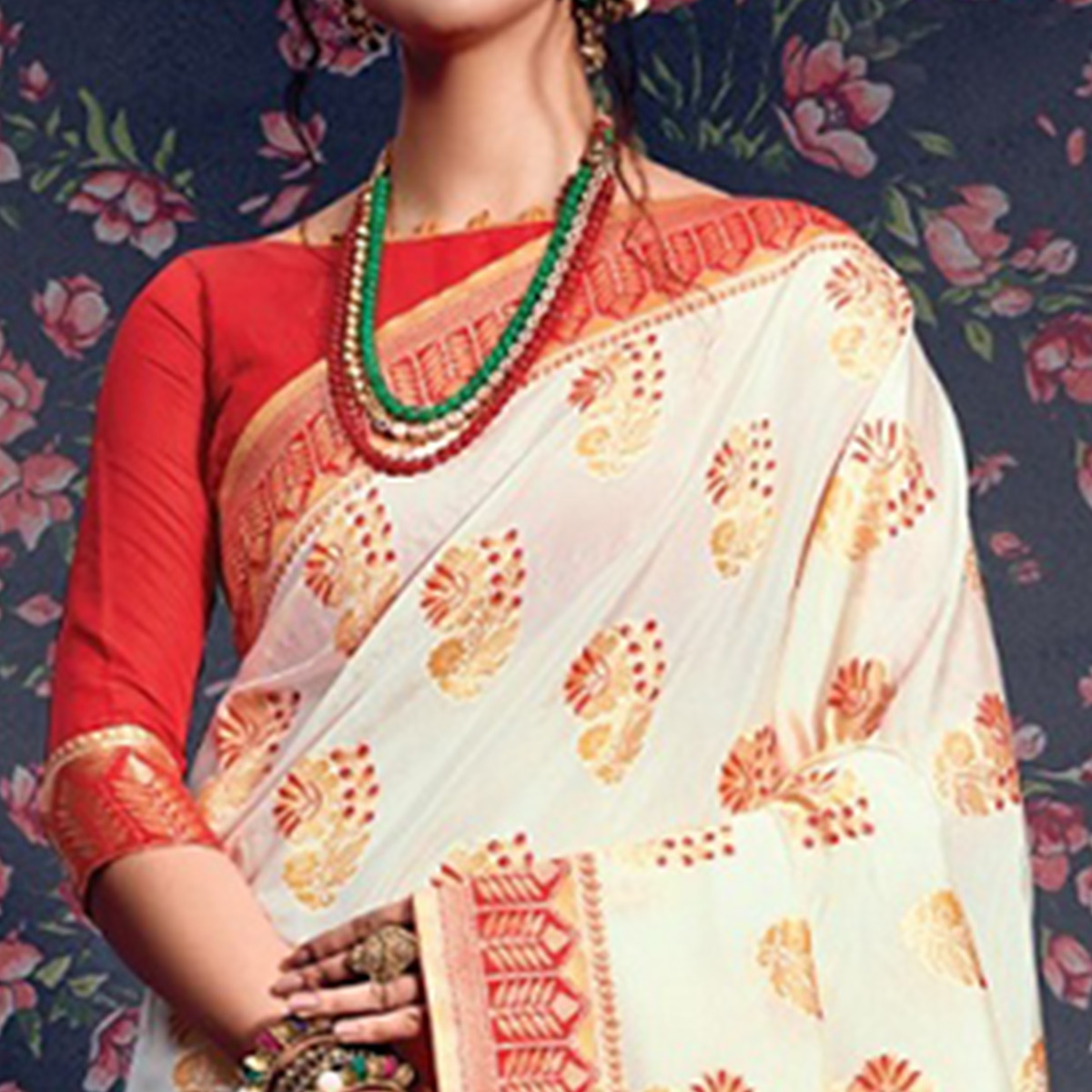 Appealing Cream-Red Colored Festive Wear Woven Silk Saree