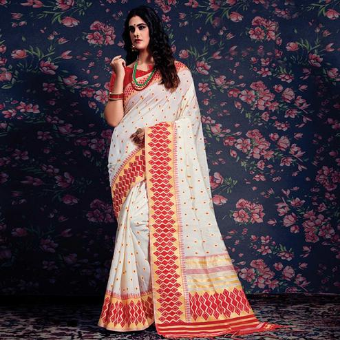 Classy Cream-Red Colored Festive Wear Woven Silk Saree