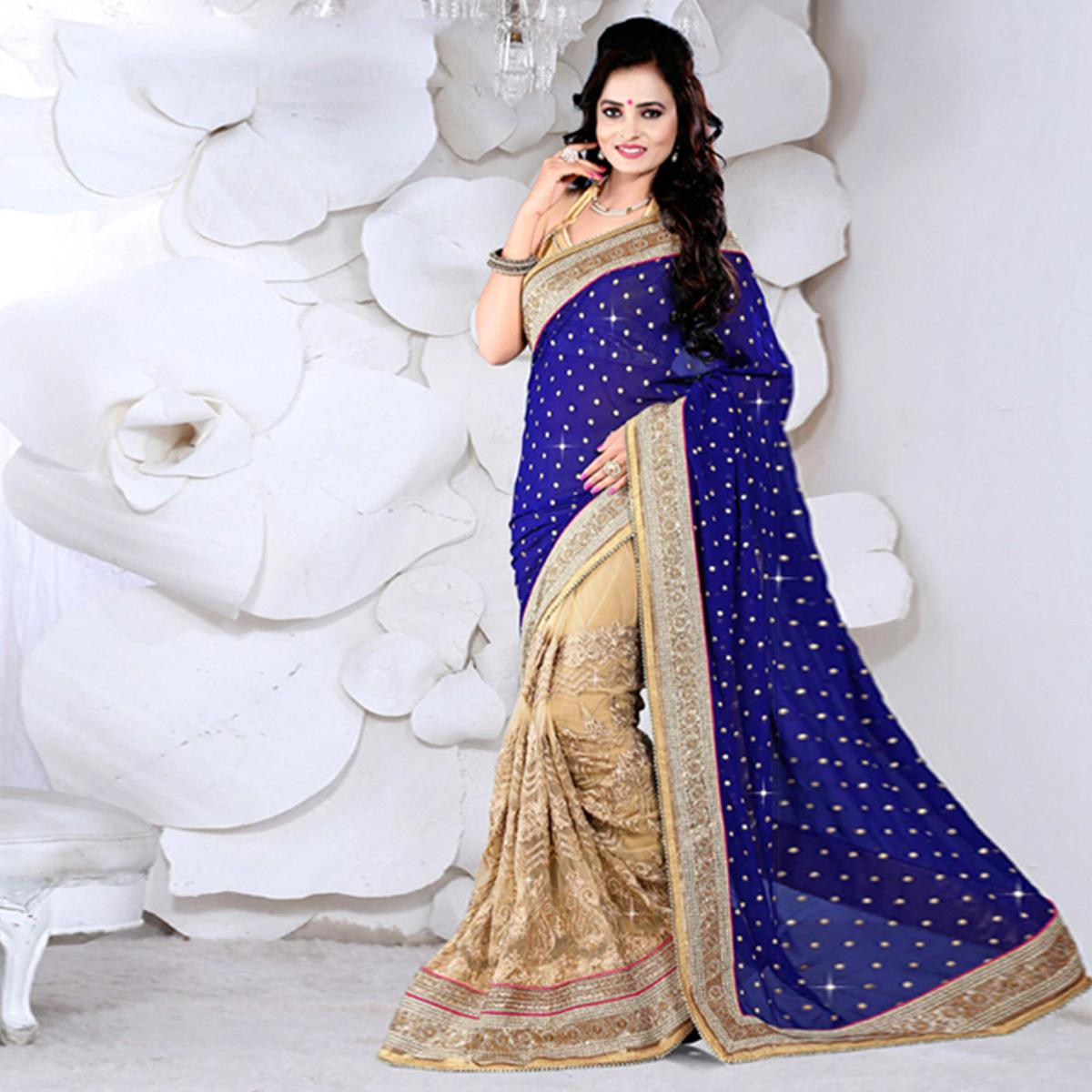 Tan - Blue Net + Viscos Jacquard Saree