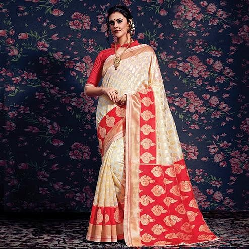 Desirable Cream-Red Colored Festive Wear Woven Silk Saree