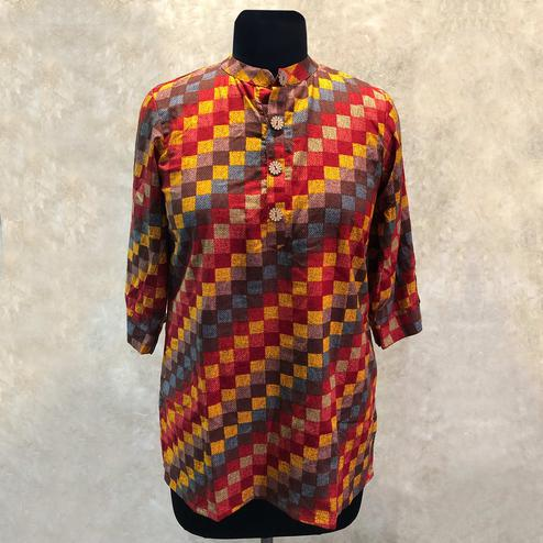 Intricate Red-Multi Colored Casual Checks Printed Rayon Top