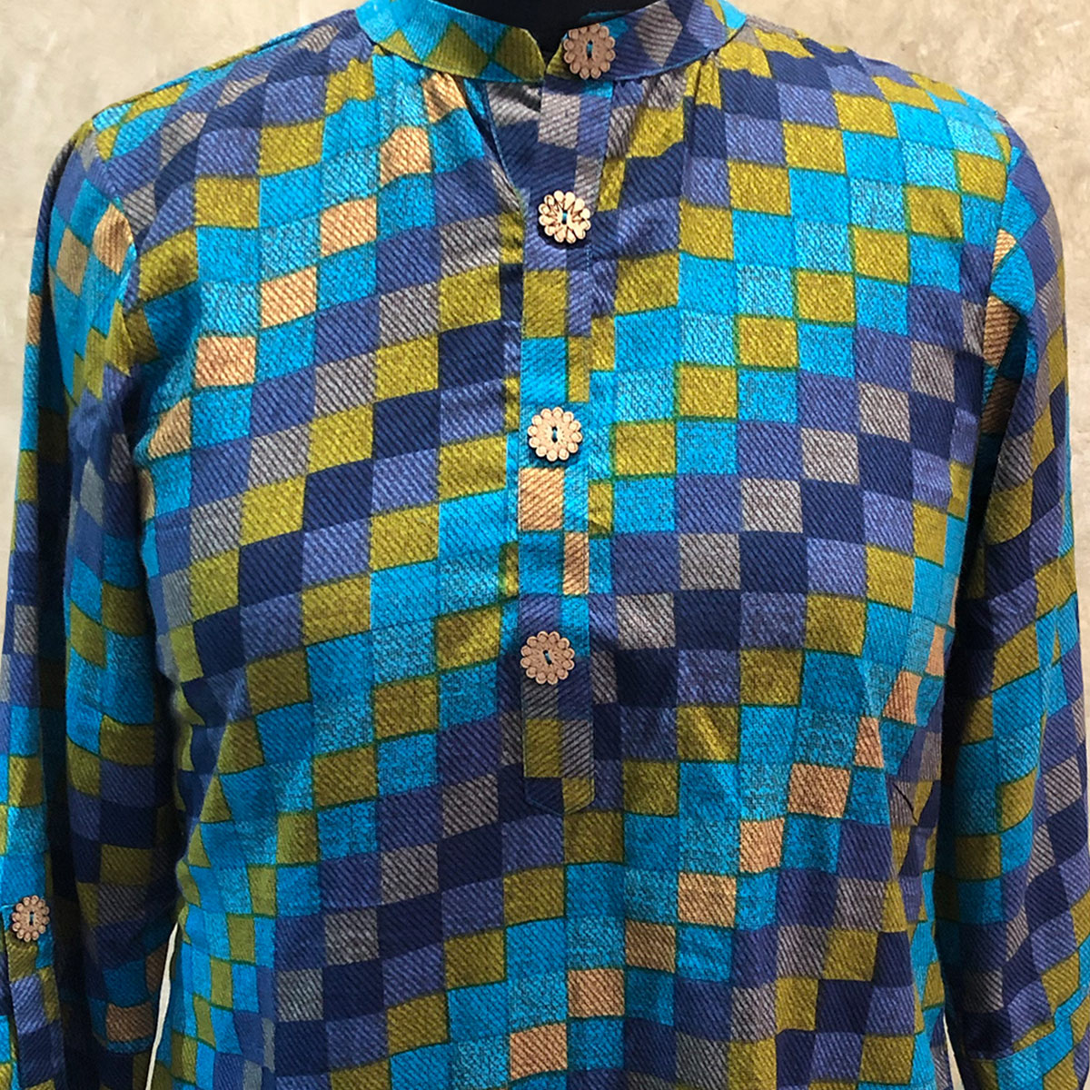 Adorable Blue-Multi Colored Casual Checks Printed Rayon Top