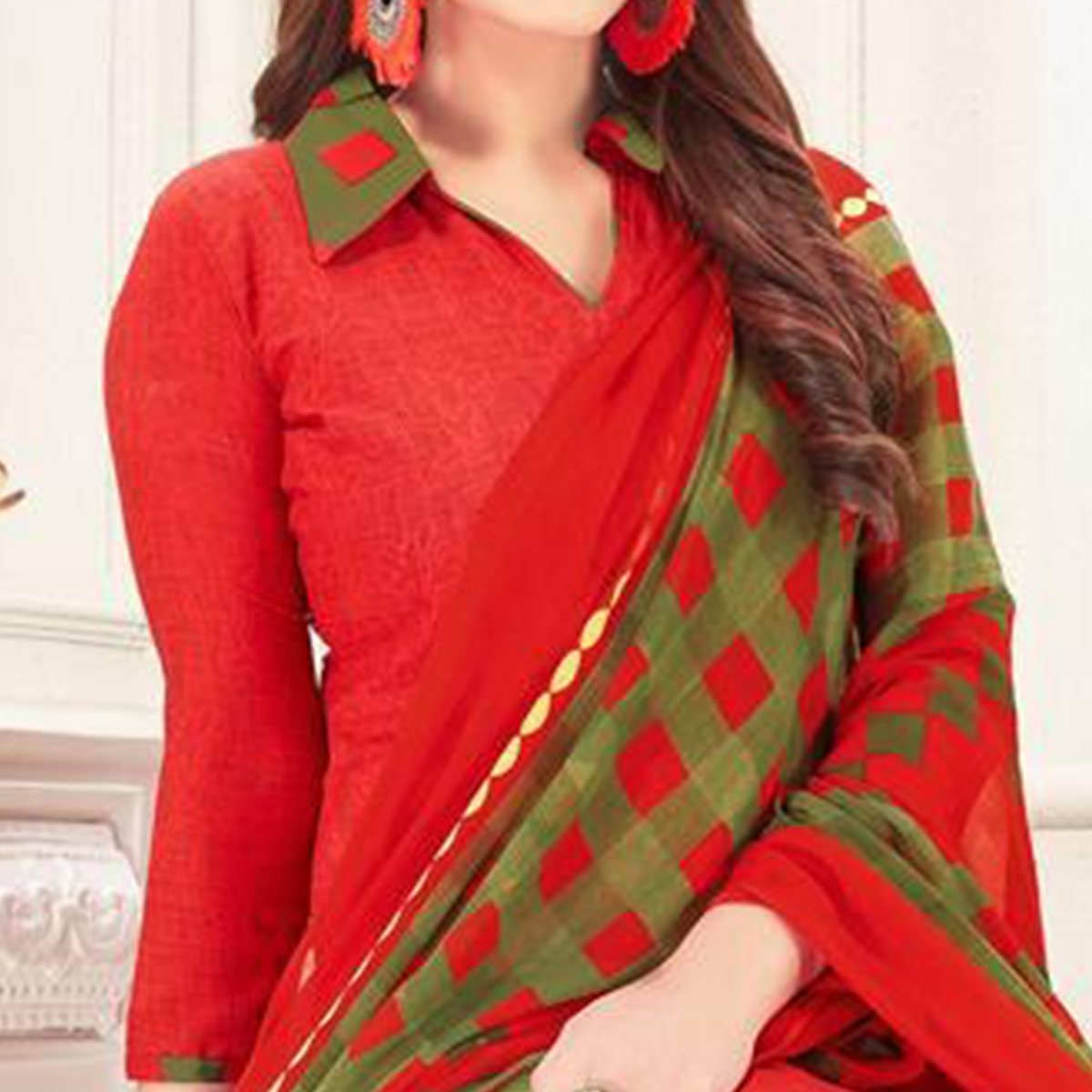 Glowing Red Colored Casual Printed Crepe Patiala Suit