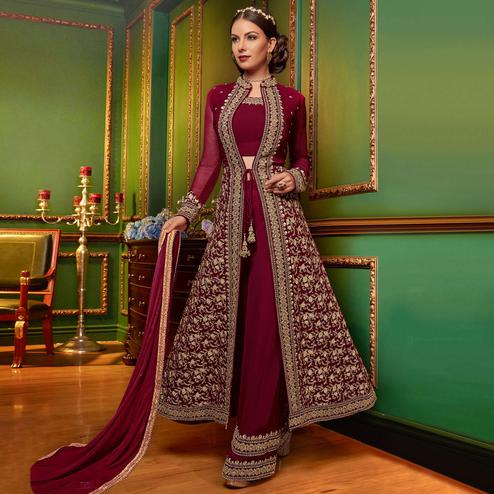 Hypnotic Magenta Pink Colored Partywear Embroidered Georgette Palazzo Suit