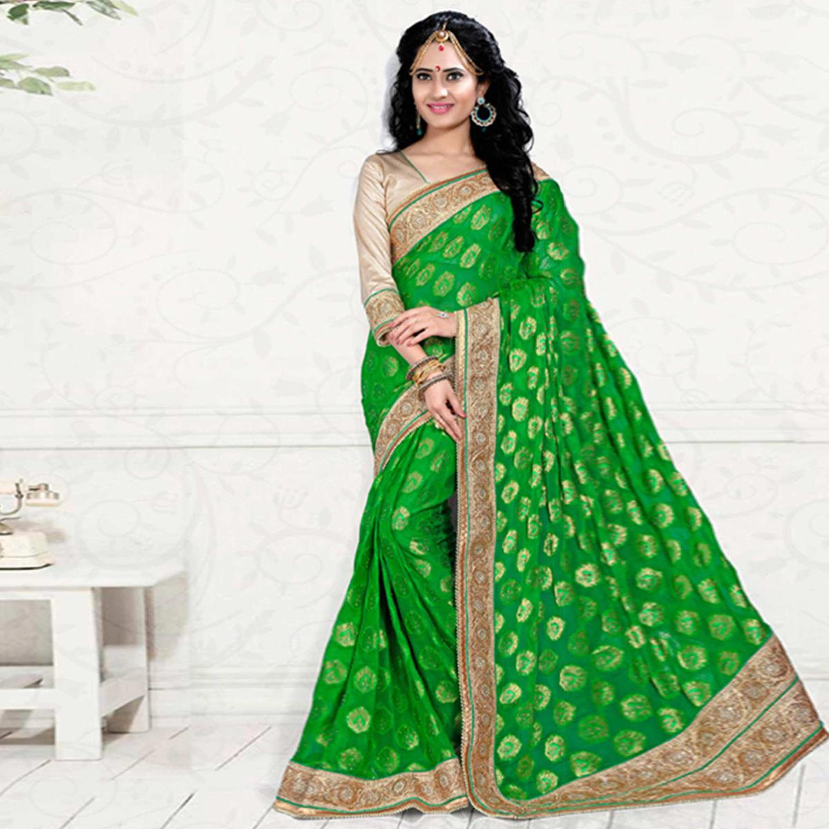 Green Pure Viscos Jacquard Saree