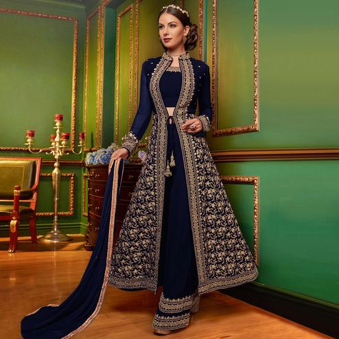 Flattering Navy Blue Colored Partywear Embroidered Georgette Palazzo Suit