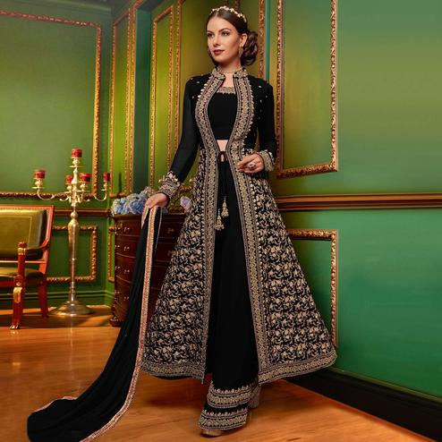 Preferable Black Colored Partywear Embroidered Georgette Palazzo Suit