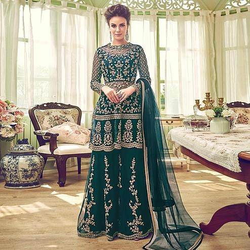 Adorning Teal Green Colored Partywear Embroidered Netted Palazzo Suit