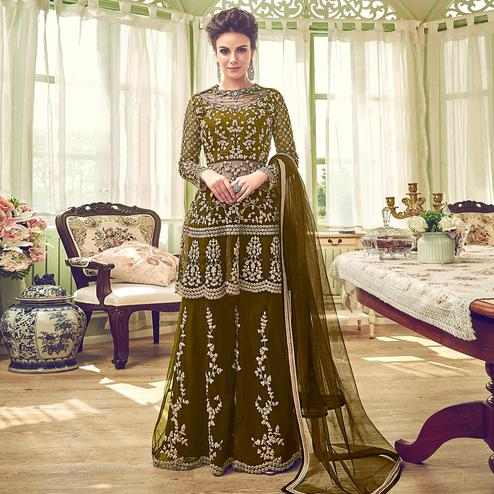 Appealing Mehendi Green Colored Partywear Embroidered Netted Palazzo Suit