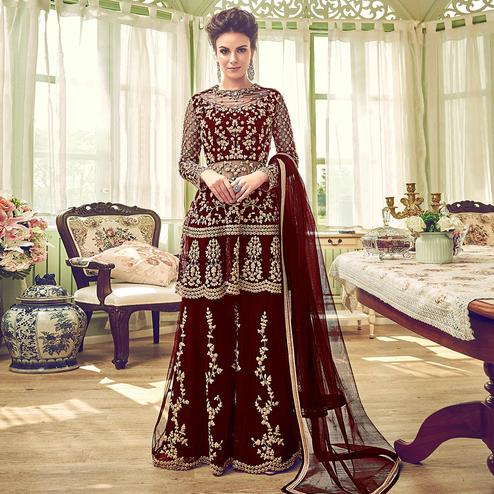 Groovy Maroon Colored Partywear Embroidered Netted Palazzo Suit