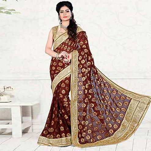 Rust Red Pure Viscos Jacquard Saree