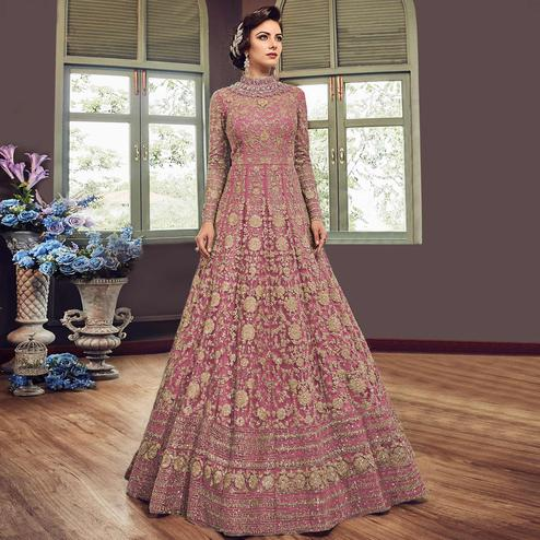 Mesmeric Pink Colored Partywear Embroidered Netted Anarkali Suit
