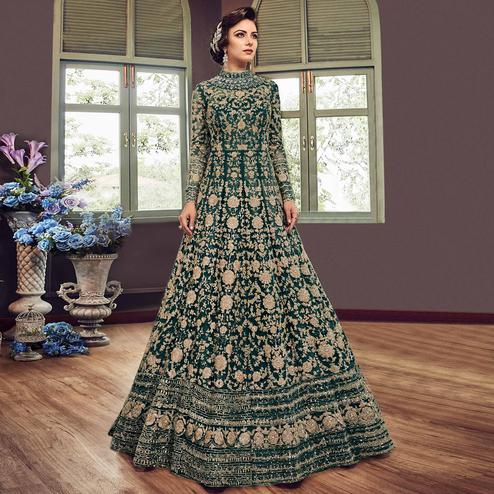 Demanding Ocean Green Colored Partywear Embroidered Netted Anarkali Suit