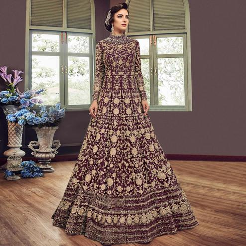 Refreshing Wine Colored Partywear Embroidered Netted Anarkali Suit