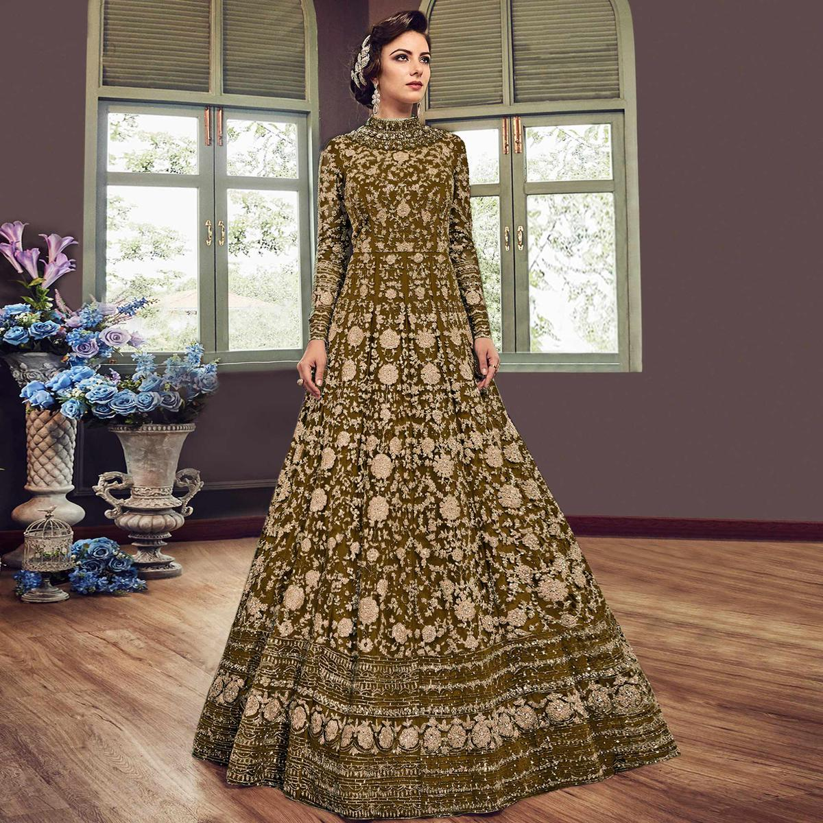Magnetic Mehendi Green Colored Partywear Embroidered Netted Anarkali Suit