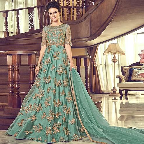 Demanding Blue Colored Partywear Embroidered Netted Anarkali Suit