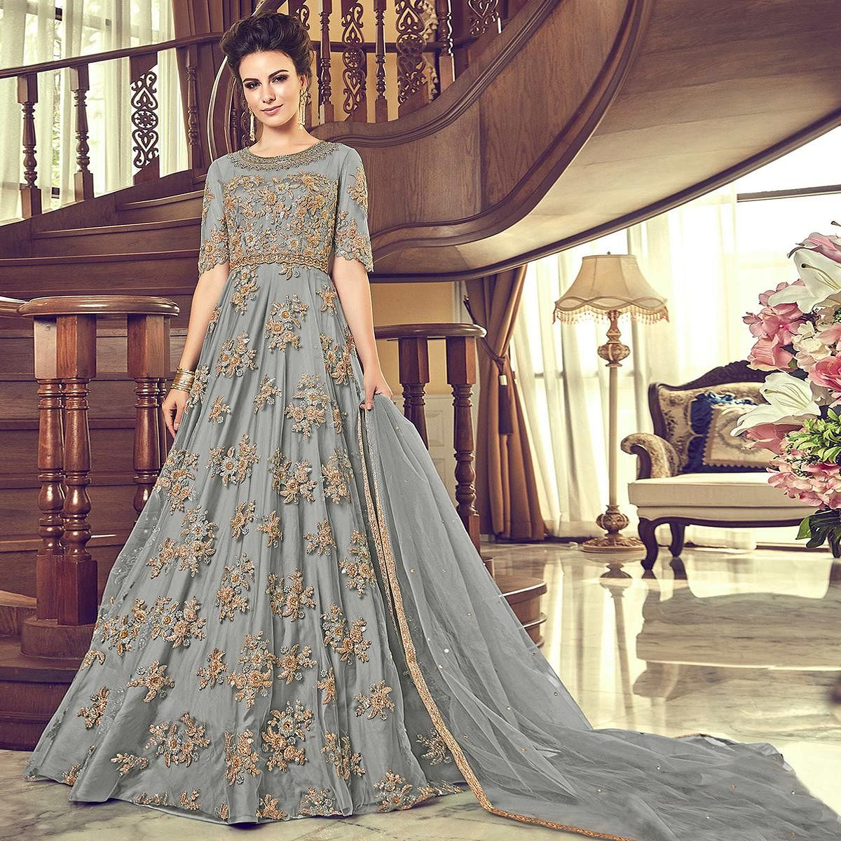 Refreshing Gray Colored Partywear Embroidered Netted Anarkali Suit