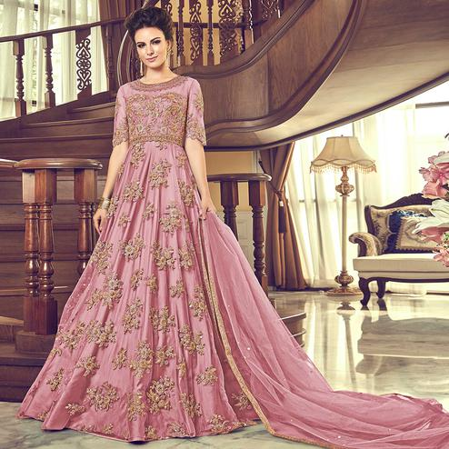 Preferable Pink Colored Partywear Embroidered Netted Anarkali Suit