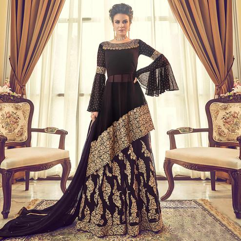 Majesty Coffee Brown Colored Partywear Embroidered Georgette Lehenga Kameez