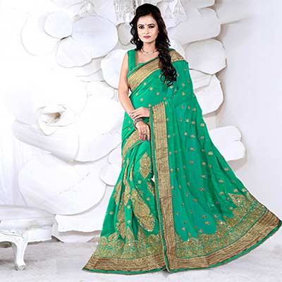 Green Catonic Georgette Saree