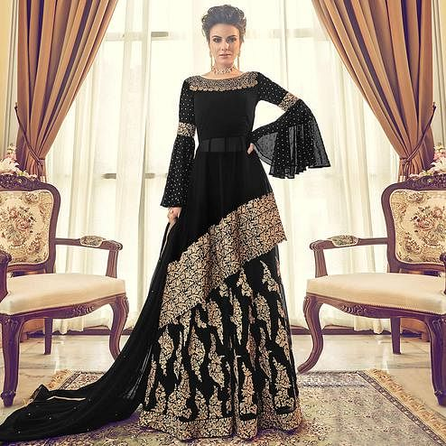 Breathtaking Black Colored Partywear Embroidered Georgette Lehenga Kameez