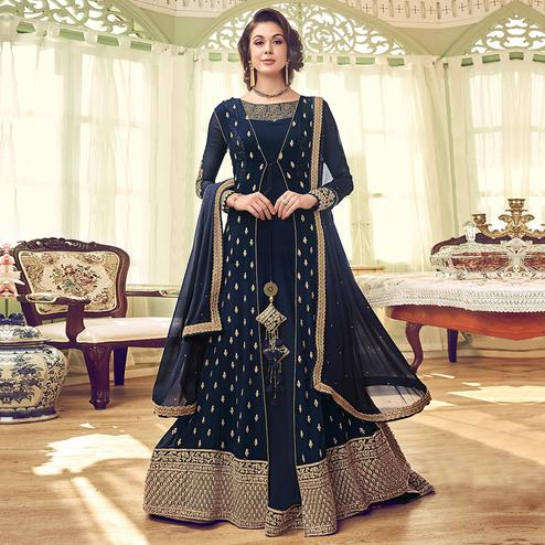 Engrossing Navy Blue Colored Partywear Embroidered Jacket Style Georgette Anarkali Suit