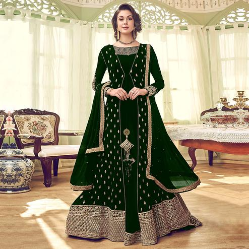 Captivating Dark Green Colored Partywear Embroidered Jacket Style Georgette Anarkali Suit